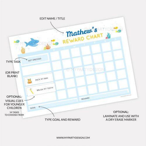 Printable Reward Chart for boys or girls - shark theme