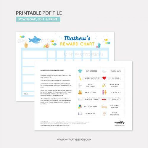 Reward Chart Printable for boys or girls - shark theme