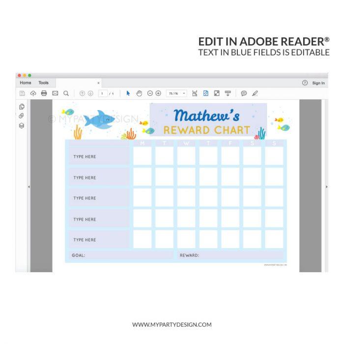 Editable Reward Chart Printable for boys or girls - shark theme