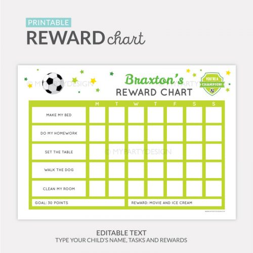 Reward Chart Printable for boys - soccer sports theme