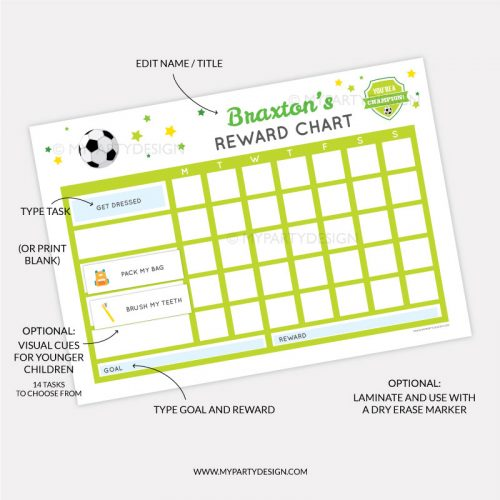 Printable Reward Chart for boys - soccer sports theme