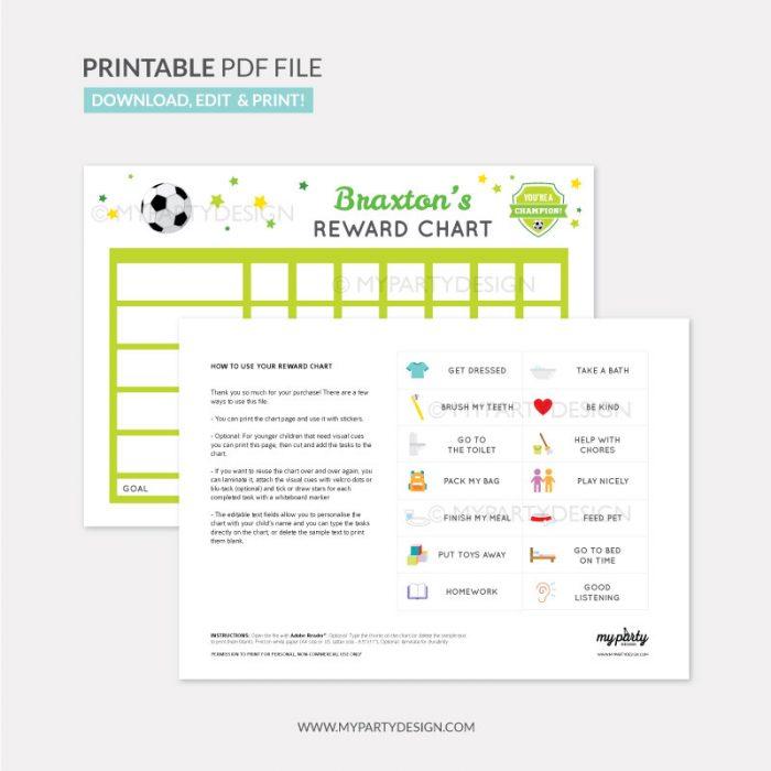 Reward Chart Printable for boys - soccer sports theme
