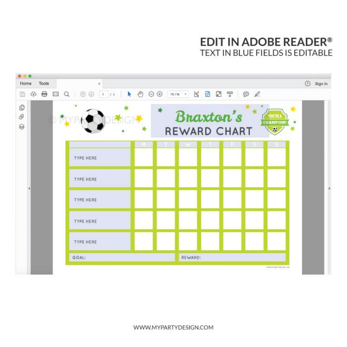 Editable Reward Chart Printable for boys - soccer sports theme