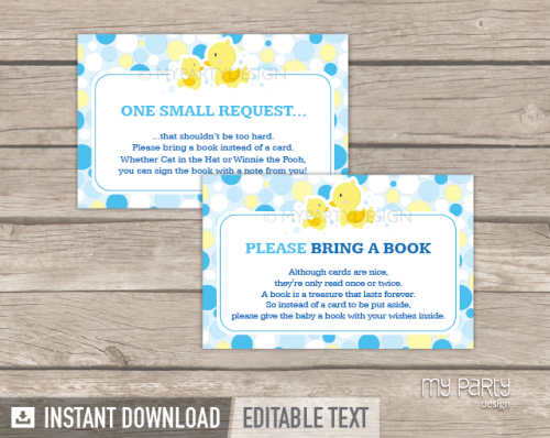 rubber duck baby shower bring a book card