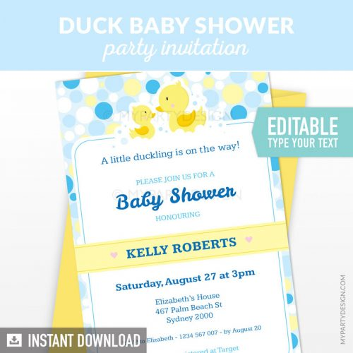 rubber duck baby shower invitation printable and editable