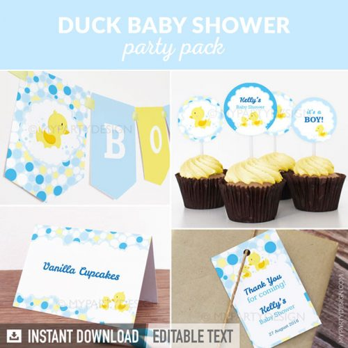 rubber duck baby shower decoration printables in blue and yellow