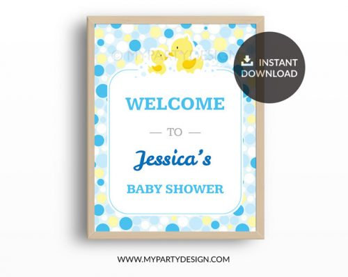 rubber duck baby shower printable welcome sign
