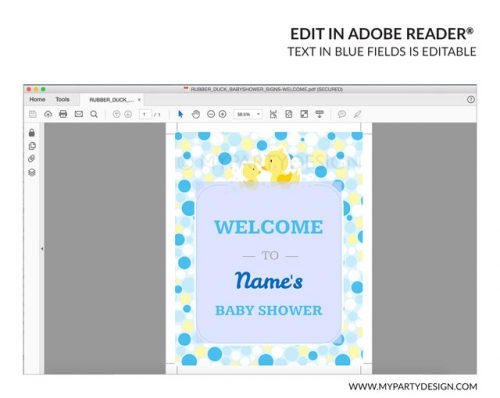 rubber duck baby shower welcome sign with editable text