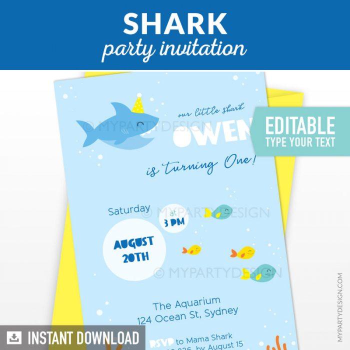 baby shark party invitation printable