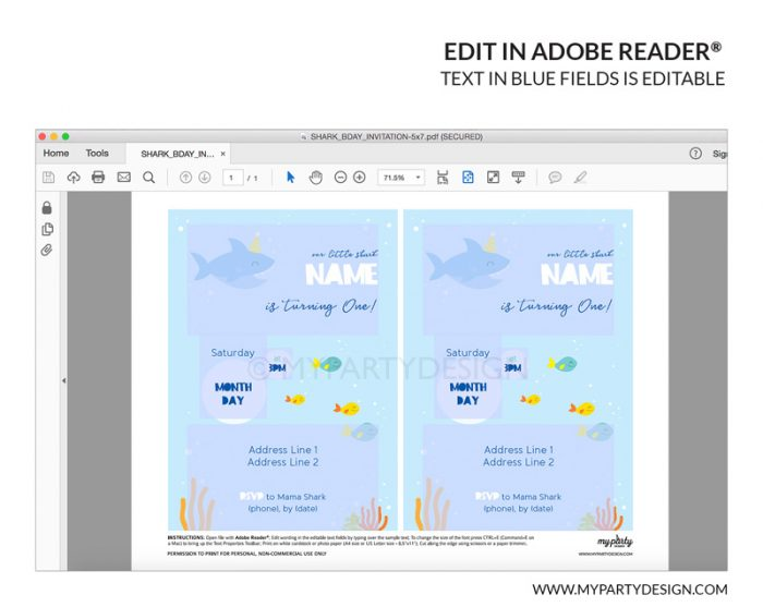 shark party invitation printable - editable invite