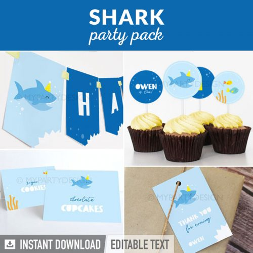 baby shark party decoration printables