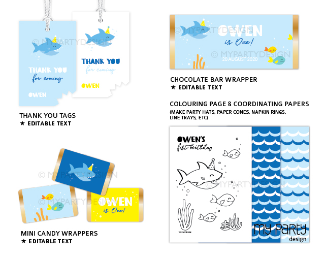 shark party printable decorations