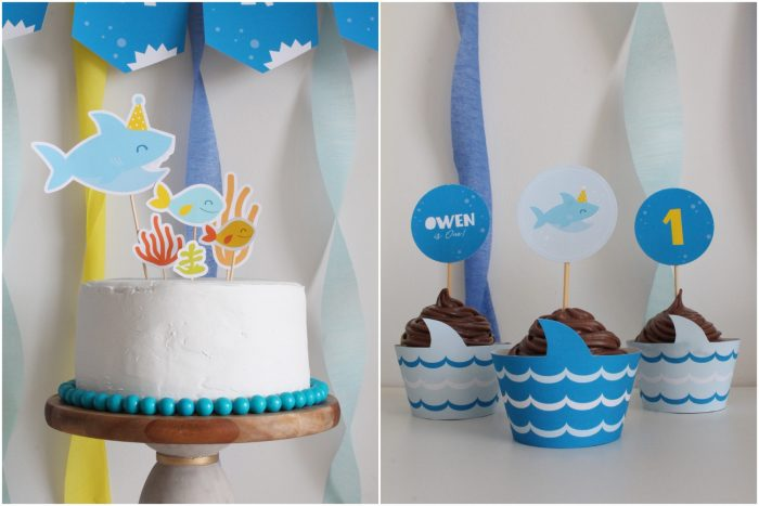 shark party cake and cupcakes