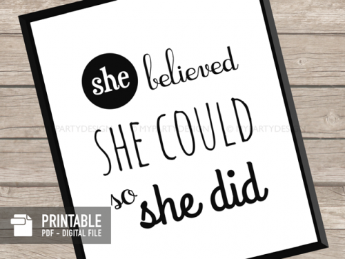 printable she believe she could so she did quote print
