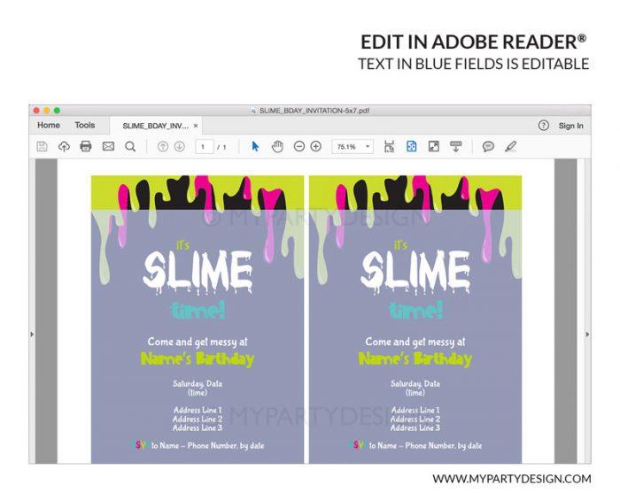 slime party editable invitation
