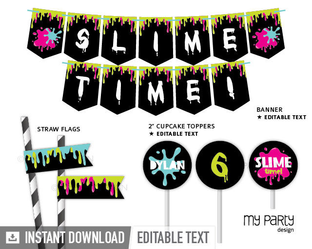 slime party printables