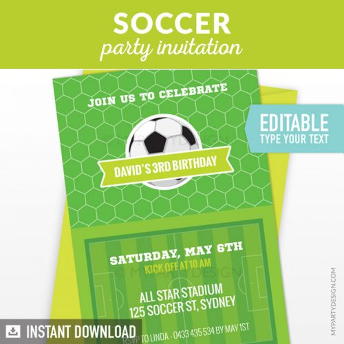 soccer party invitation printable