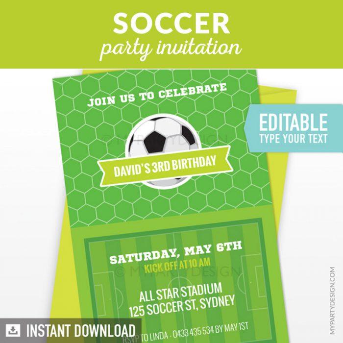 soccer party invitation printable