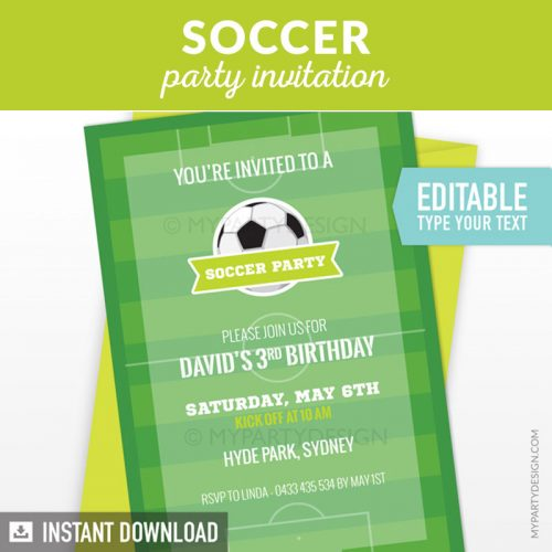 soccer birthday invitation printable
