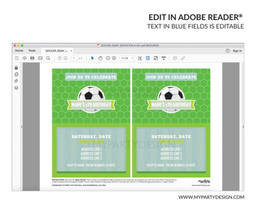 soccer party invitation - editable printable invite