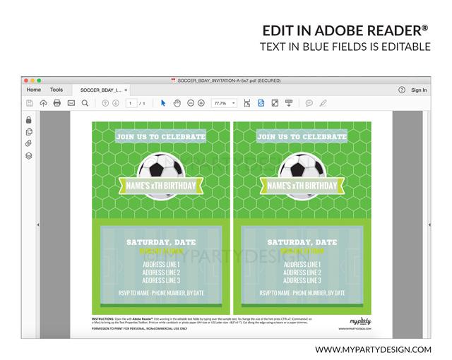 soccer party invitation - editable printable invite