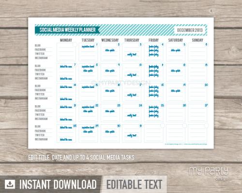 social media planner printable