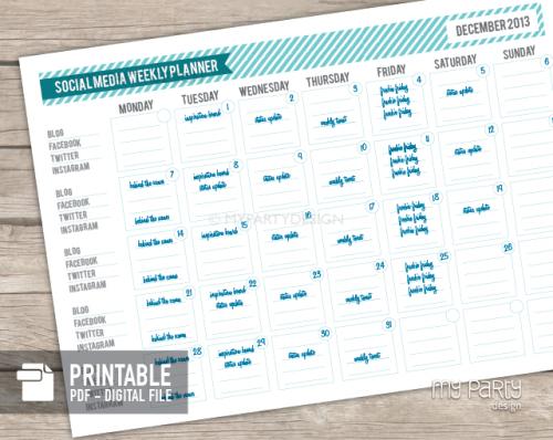 printable social media planner
