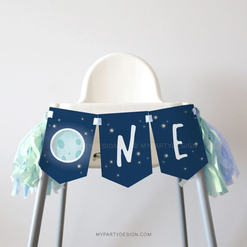 space first birthday high chair banner for a one year old