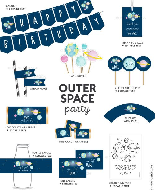 printable outer space party decorations