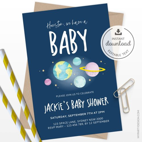 space baby shower invitation