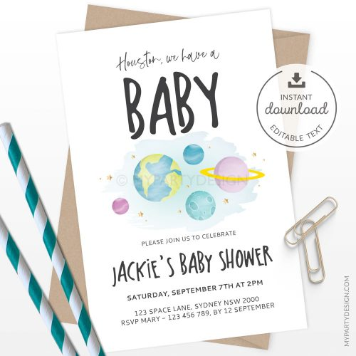 """""""houston we have a baby"""" space baby shower invitation"""