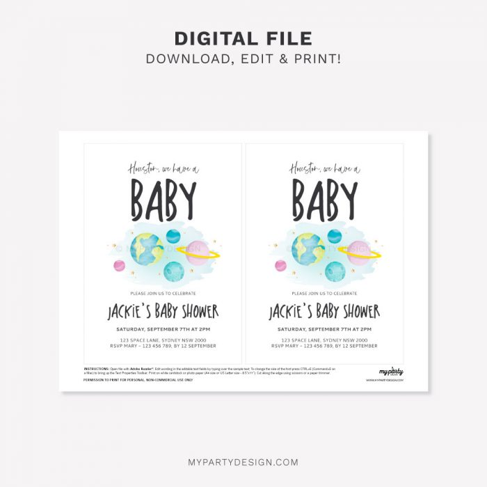 printable space baby shower invitation