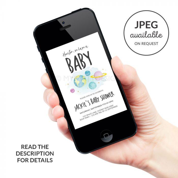 digital space baby shower invitation