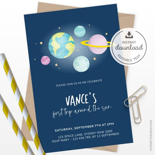 space birthday invitation - first trip around the sun