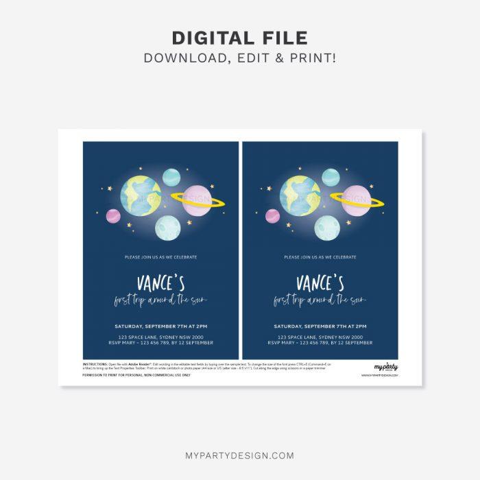 printable space birthday invitation
