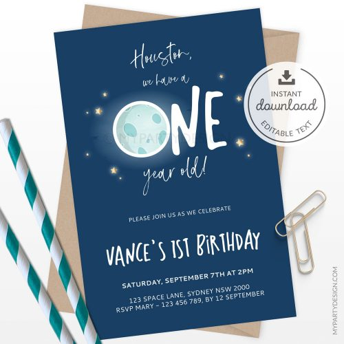 space first birthday invitation - houston we have a one year old