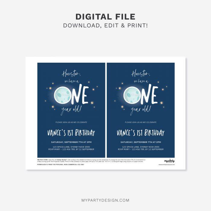 printable space first birthday invitation