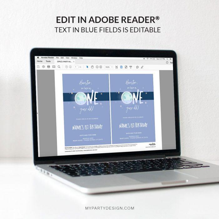editable space first birthday invitation