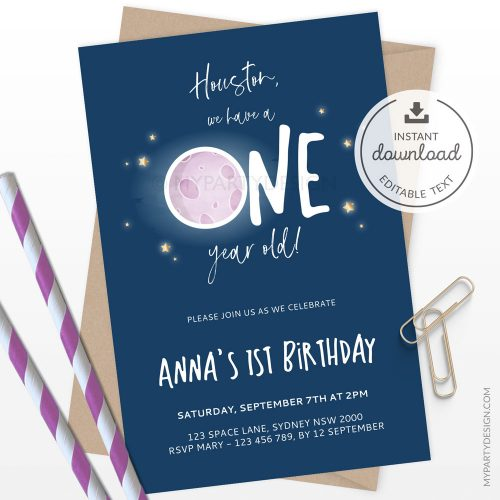 space first birthday invitation for girl - houston we have a one year old