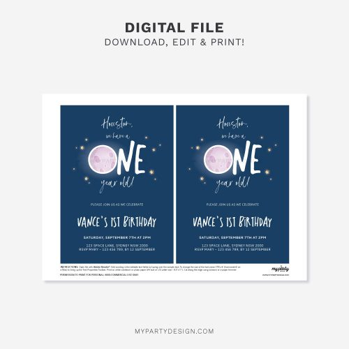 printable space first birthday invitation for girl