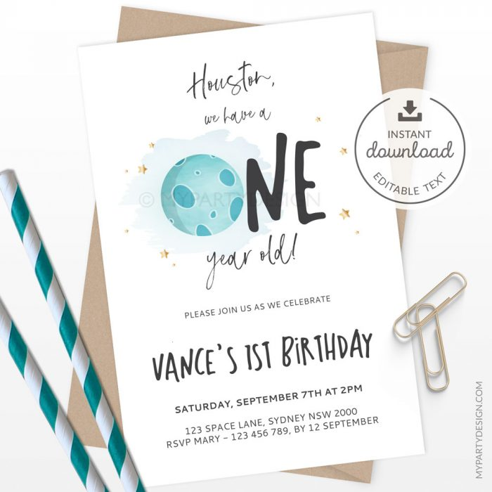 houston we have a one year old - space first birthday invitation