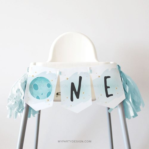 outer space first birthday high chair banner for a one year old