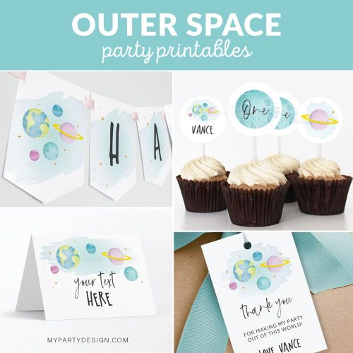 space first birthday party printables