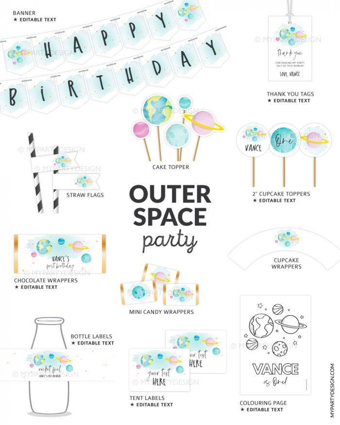 outer space space birthday party printables