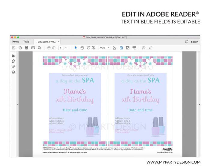 spa party invitation - editable printable invite