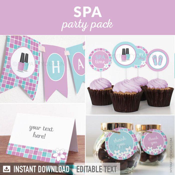 spa party decoration printables