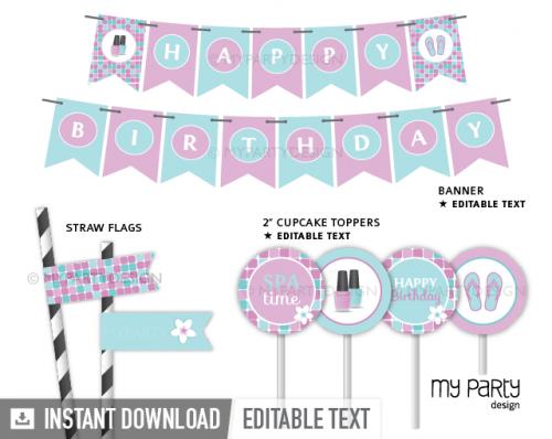 printable spa birthday party decorations