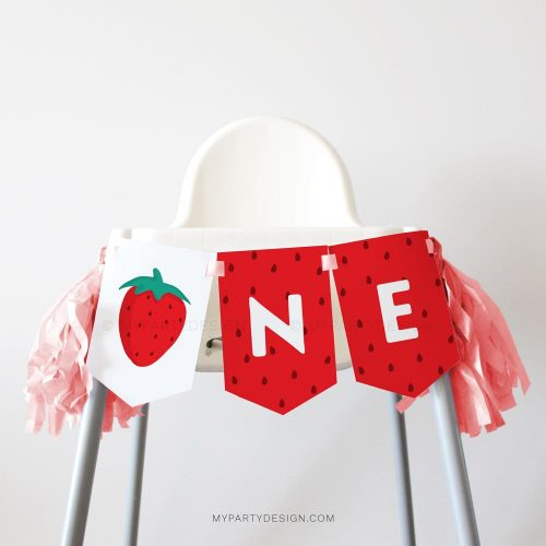 strawberry first birthday high chair banner for a one year old