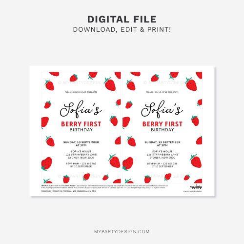 printable Strawberry Birthday Invitation