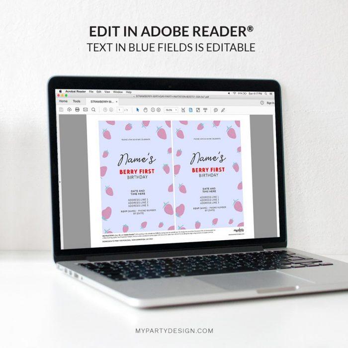 editable strawberry birthday invitation template